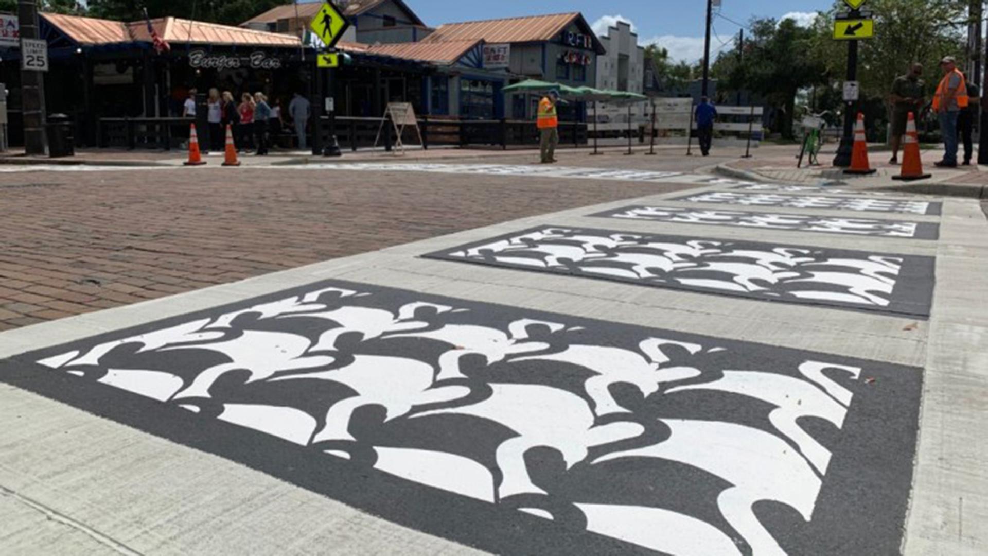 Riverside Drive Streetscape swan-crosswalk-2